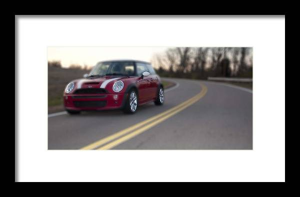Red Framed Print featuring the photograph Red Mini-cooper Car On Road by Nicole Berna