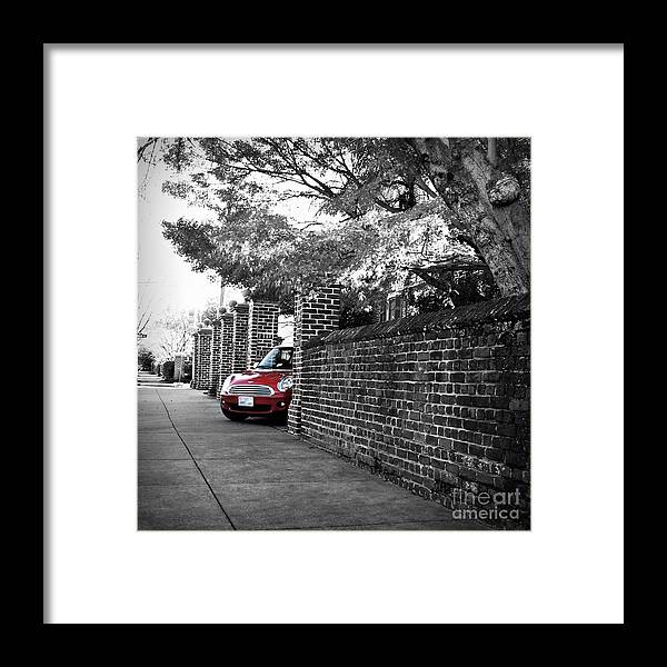 Automobile Framed Print featuring the photograph Red Mini Cooper- The Debut by Nancy Dole McGuigan