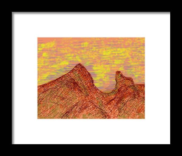 Red Mountain Sunset Framed Print featuring the digital art Red Mountain At Sunset by John Hines