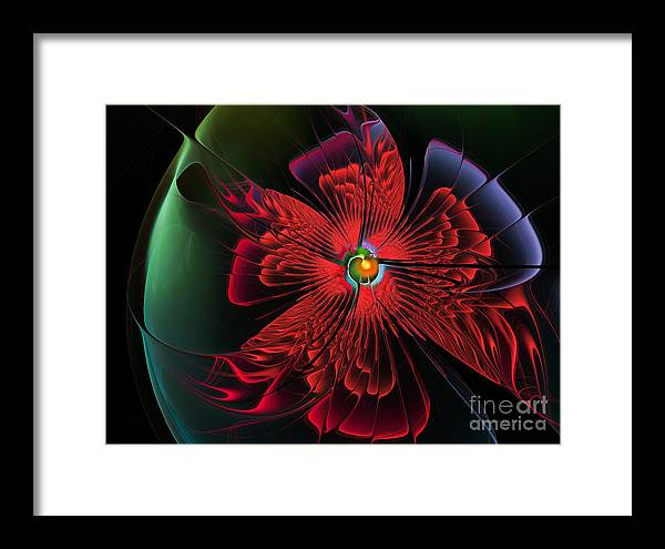 Abstract Framed Print featuring the digital art Red Passion by Karin Kuhlmann