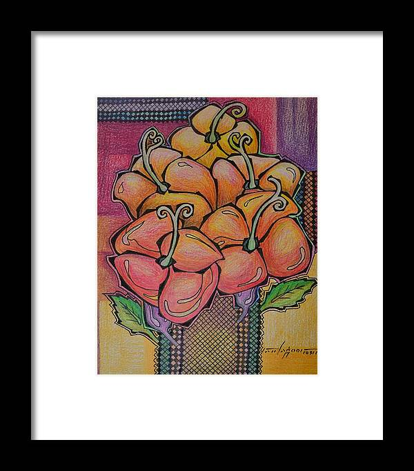 Flowers Framed Print featuring the drawing Red Petals by Raul Agner