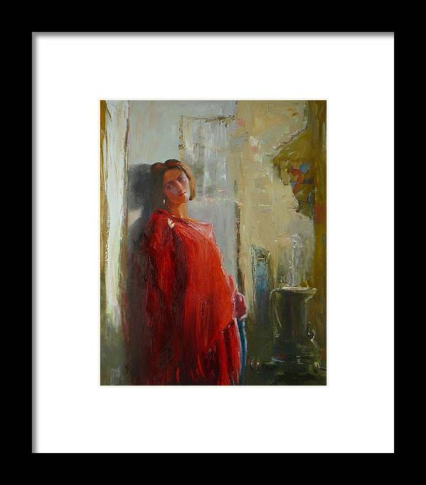 Red Poncho Framed Print featuring the painting Red Poncho by Irena Jablonski