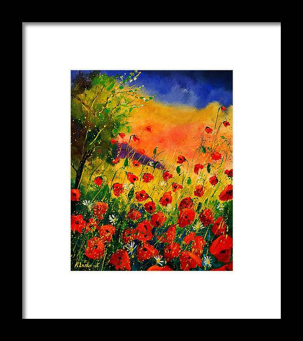 Poppies Framed Print featuring the painting Red Poppies 45 by Pol Ledent