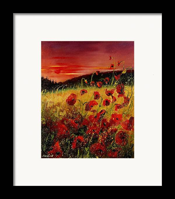 Poppies Framed Print featuring the painting Red Poppies And Sunset by Pol Ledent