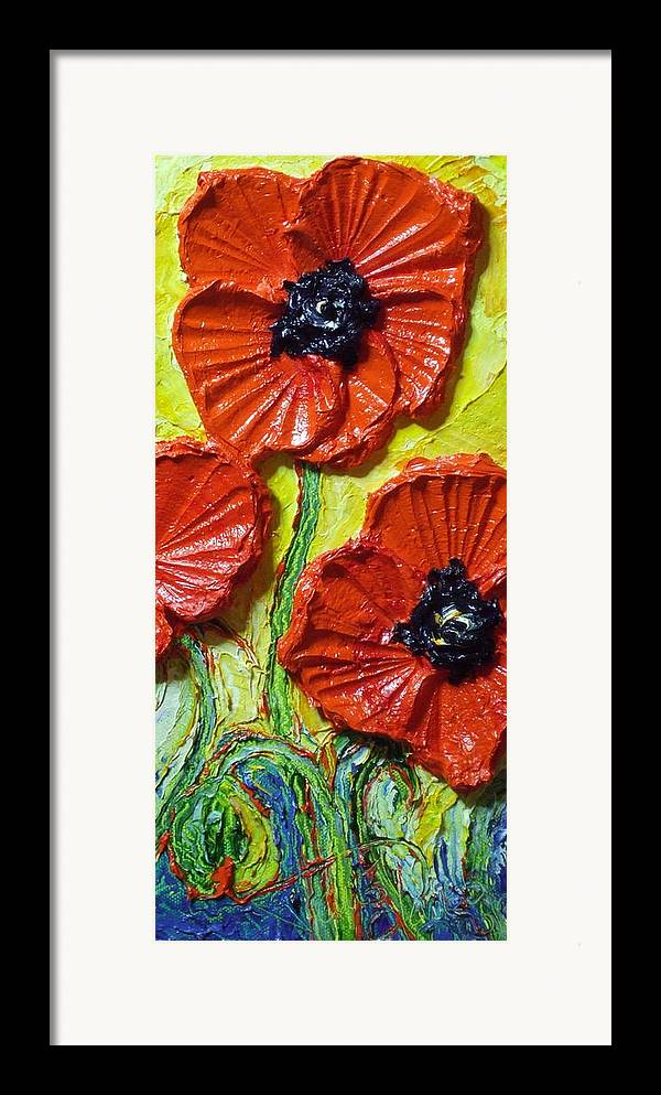 Red Poppy Painting Framed Print featuring the painting Red Poppies II by Paris Wyatt Llanso