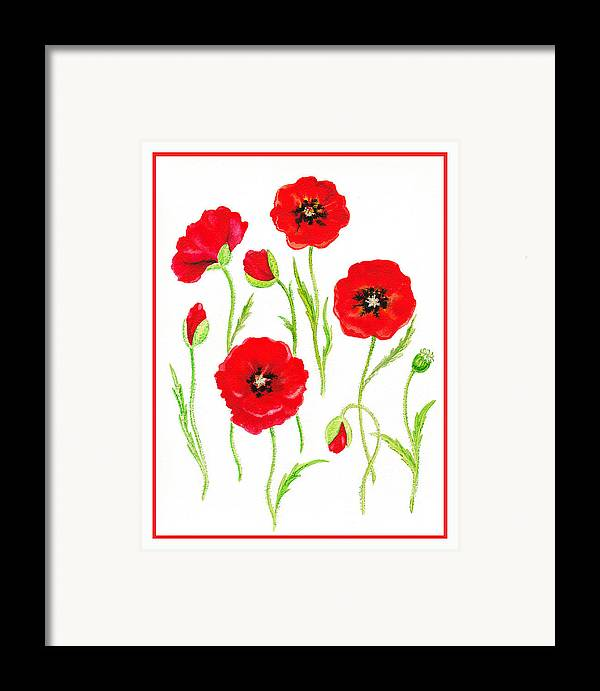 Poppies Framed Print featuring the painting Red Poppies by Irina Sztukowski