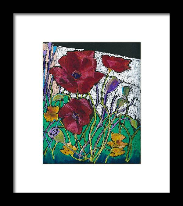 Flower Framed Print featuring the pastel Red Poppies by Toshiko Tanimoto