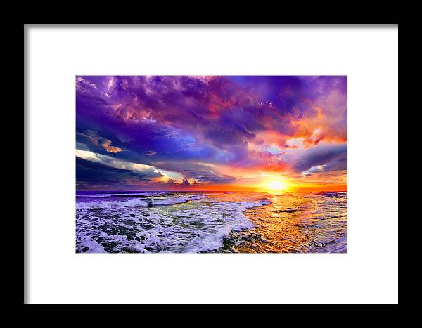Pink Purple Clouds Framed Print featuring the photograph Red Purple Sea Sunset-sun Trail Waves Seascape by Eszra Tanner