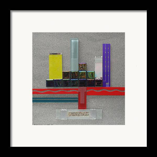 Assemblage Framed Print featuring the relief Red River City by Elaine Booth-Kallweit