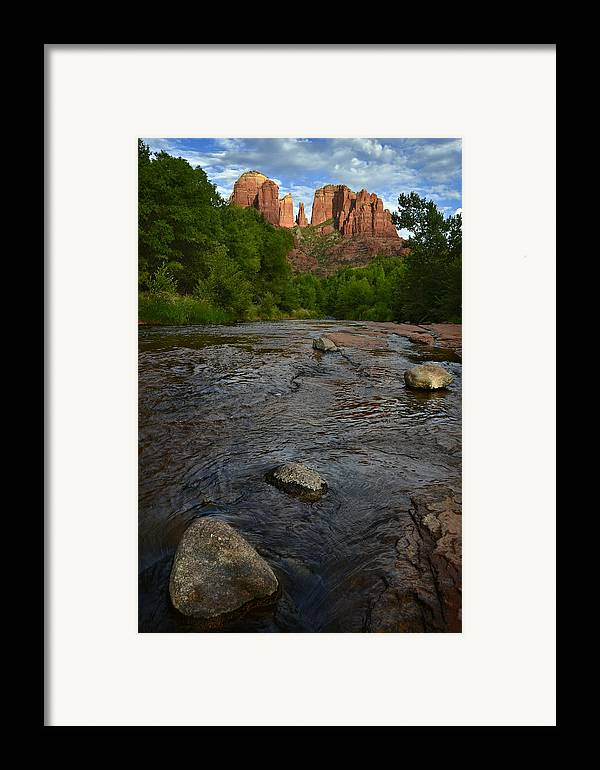 Cathedral Framed Print featuring the photograph Red River Crossing Under Cathedral Rock by Dave Dilli