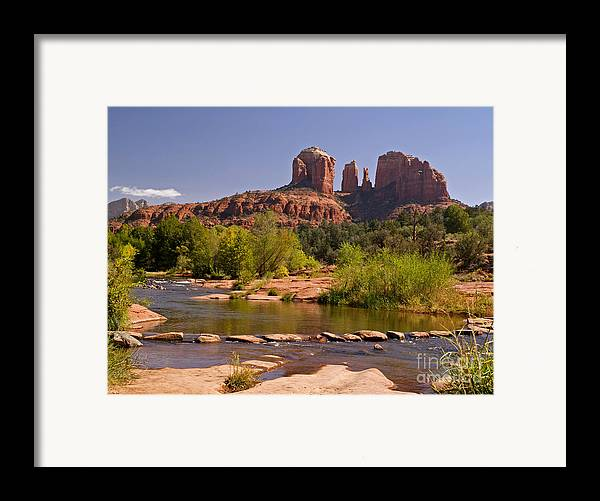 Landscape Framed Print featuring the photograph Red Rock Crossing by Alex Cassels