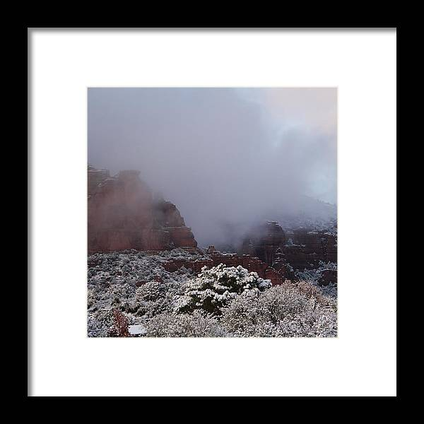 Scenics Framed Print featuring the photograph Red Rock Fog Snow Sedona Arizona by Sassy1902