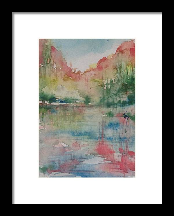 Watercolor Framed Print featuring the painting Red Rock Series #1 by Robin Miller-Bookhout