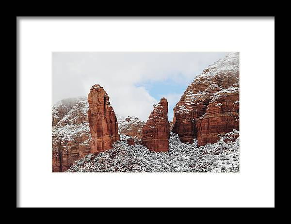 Scenics Framed Print featuring the photograph Red Rock Snow Sedona by Sassy1902