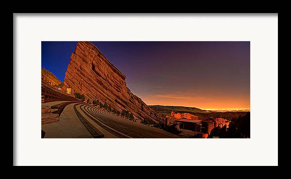 Night Framed Print featuring the photograph Red Rocks Amphitheatre At Night by James O Thompson