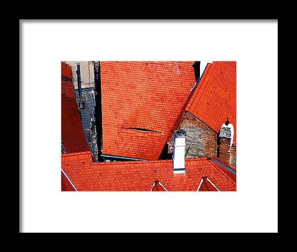 Red Framed Print featuring the photograph Red Roofs Of Sibiu by Marius Mitea