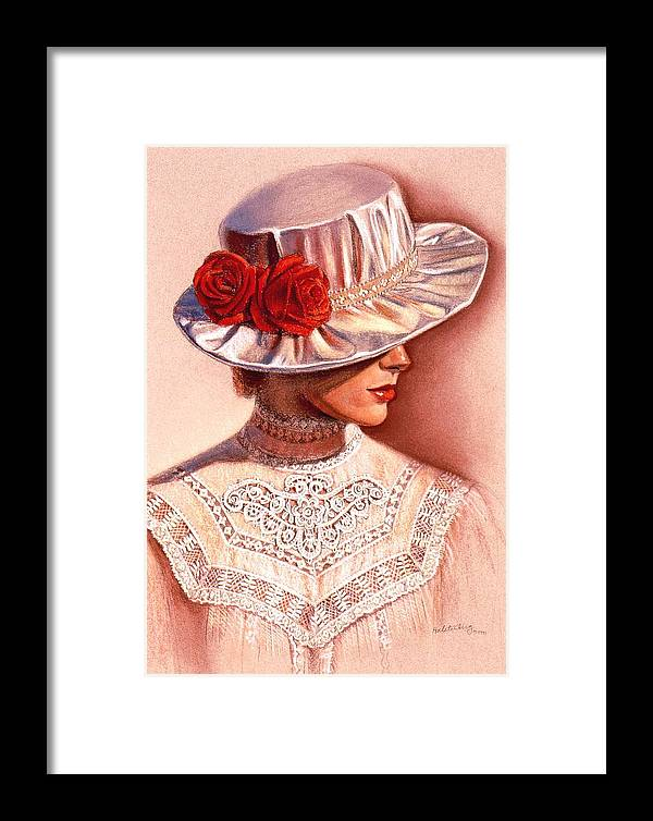 Victorian Lady Framed Print featuring the painting Red Roses Satin Hat by Sue Halstenberg