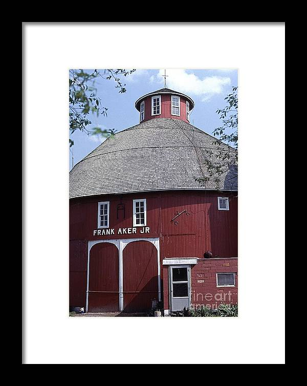 Red Round Barn With Cupola In The Illinois / Indiana Part Of The U.s. Framed Print featuring the photograph Red Round Barn With Cupola by Robert Birkenes