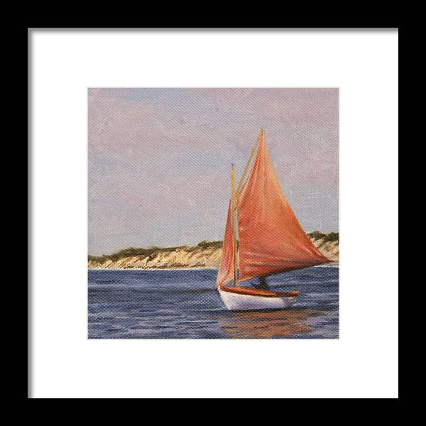 Seascape Framed Print featuring the painting Red Sails by Will Kefauver