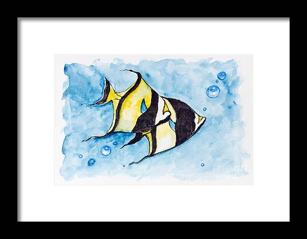 Fish Framed Print featuring the painting Red Sea Banner Fish by Irina Gromovaja