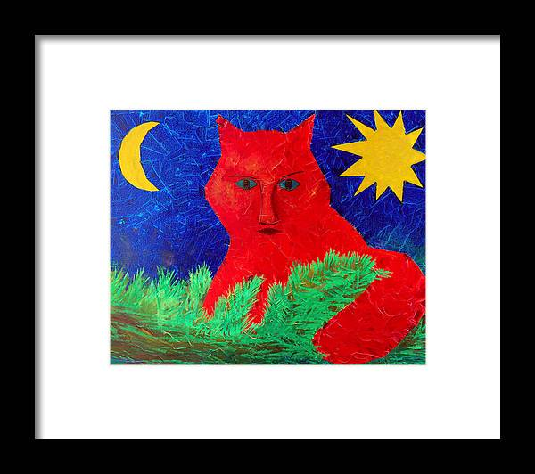 Fantasy Framed Print featuring the painting Red by Sergey Bezhinets