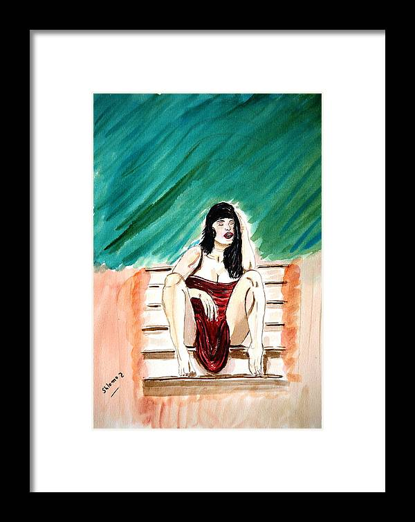 Nude Framed Prints Framed Print featuring the painting Red Sexy Passion by Shlomo Zangilevitch
