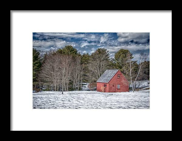 Buildings Framed Print featuring the photograph Red Shed In Maine by Guy Whiteley