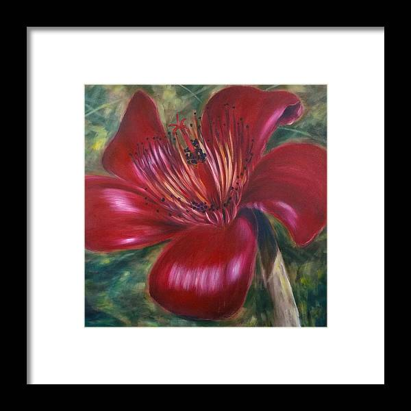 Flower Framed Print featuring the painting Red Silk Cotten Bombex by Larry Palmer