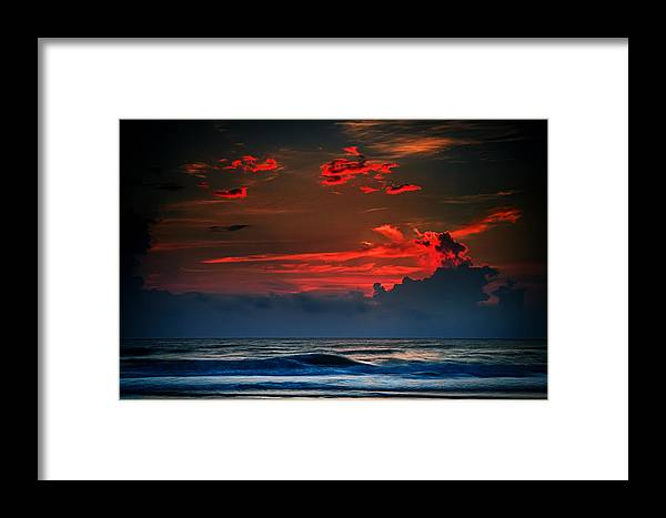 Red Framed Print featuring the photograph Red Sky Over Ocean by Jeff Turpin