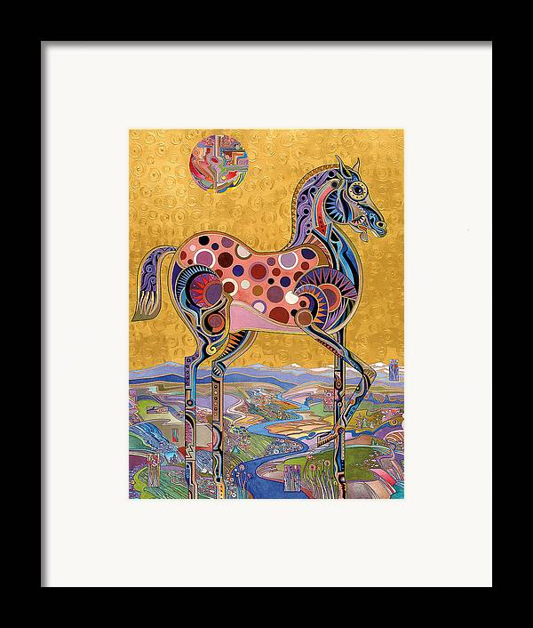 Horse Paintings Framed Print featuring the painting Red Stallion Overlook by Bob Coonts