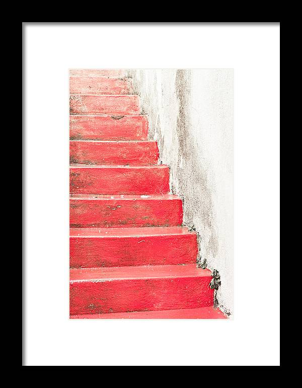 Abstract Framed Print featuring the photograph Red Stone Steps by Tom Gowanlock