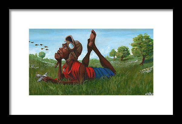 Tuskegee Framed Print featuring the painting Red Tail Dreamer by Jerome White