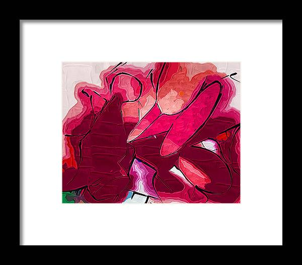 Abstract Framed Print featuring the painting Red Tubes by Kirt Tisdale