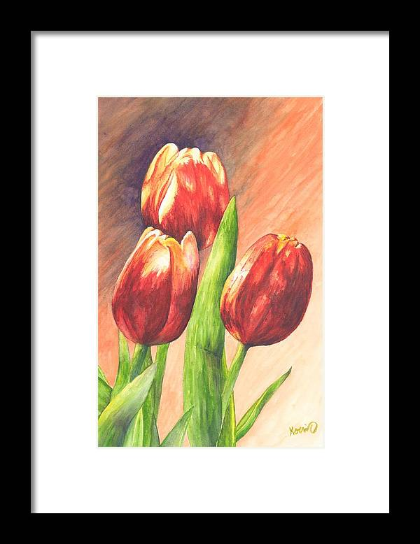 Red Framed Print featuring the painting Red Tulips by Oty Kocsis
