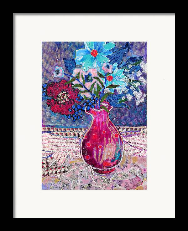 Flowers In A Vase Framed Print featuring the mixed media Red Vase IIi by Diane Fine