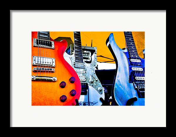 The Kingpins Framed Print featuring the photograph Red White And Blue Guitars by David Patterson