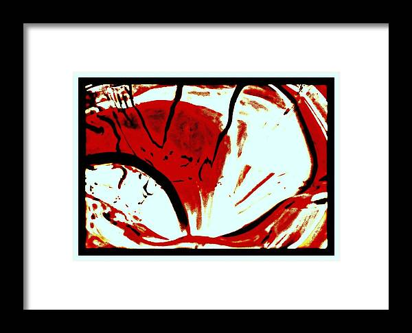 Red White Black Abstract Artwork Contemporary Artwork Modern Artwork Colorful Artwork Rosemarie E Seppala Beautiful Artwork Red White Black Art Moving Art Flowing Artwork Bright Sunny Bright Contemporary Contemporary Painting Modern Painting Swirled Contemporary Swirled Modernism Framed Print featuring the painting Red White Black Abstract by Rosemarie E Seppala