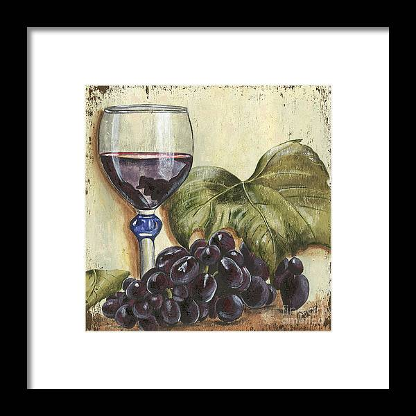 Wine Framed Print featuring the painting Red Wine And Grape Leaf by Debbie DeWitt