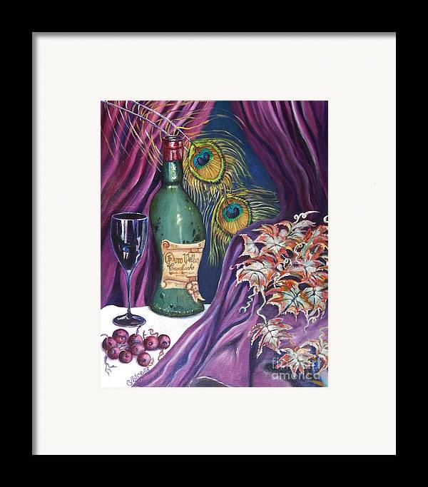 Still-life Framed Print featuring the painting Red Wine And Peacock Feathers by Caroline Street