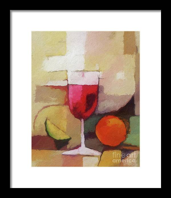 Still Life Framed Print featuring the painting Red Wine by Lutz Baar