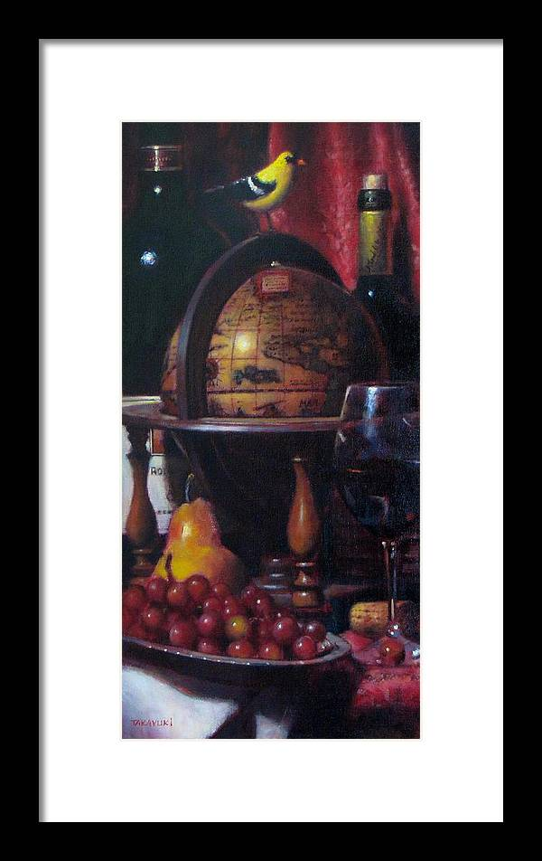 Wine Painting Framed Print featuring the painting Red Wine With Gold Finch Little Company by Takayuki Harada