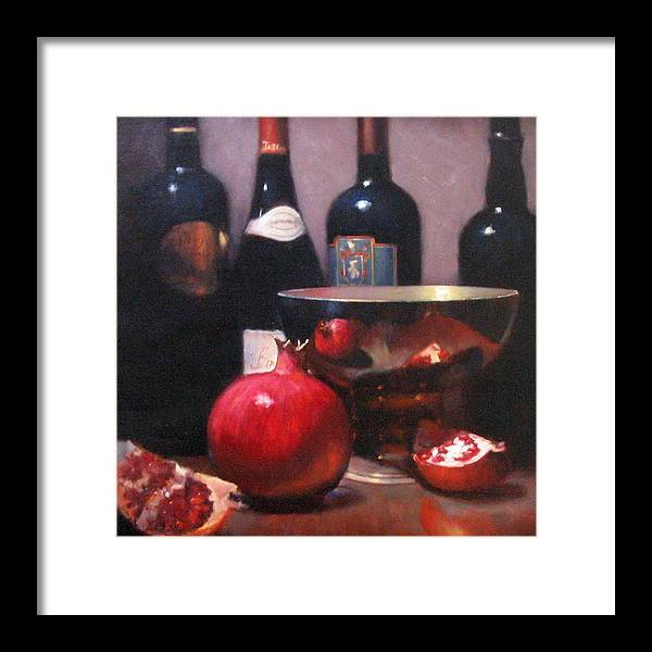 Wine Still Life Framed Print featuring the painting Red Wine With Pomegranates by Takayuki Harada