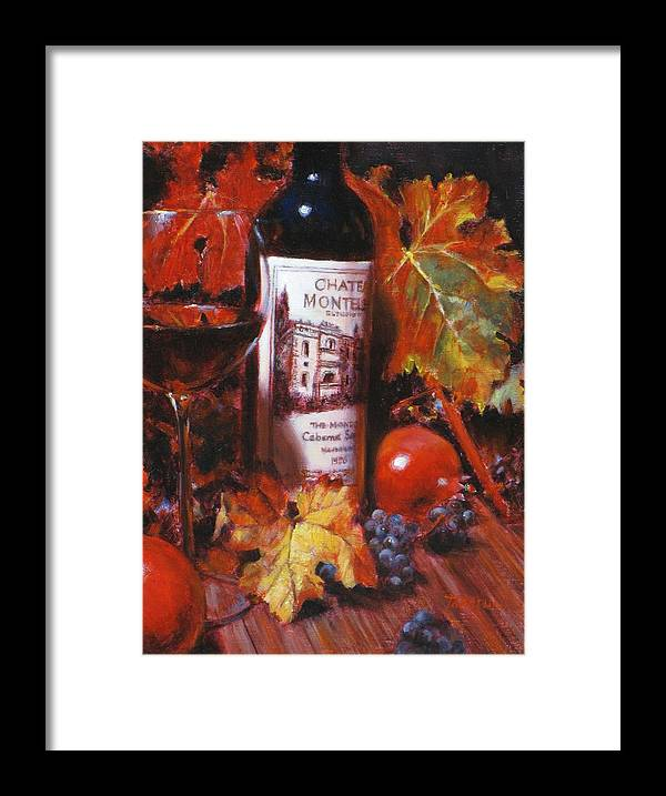 Wine Still Life Framed Print featuring the painting Red Wine With Red Pomergranates by Takayuki Harada