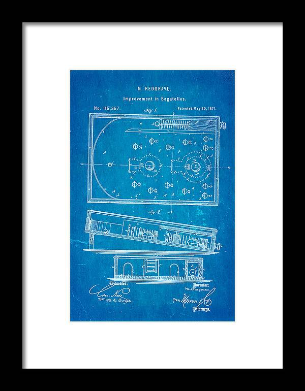 Home Framed Print featuring the photograph Redgrave Bagatelle Patent Art 1871 Blueprint by Ian Monk