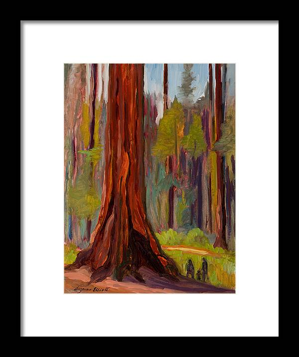 Redwood Tree Framed Print featuring the painting Redwood Giant by Suzanne Elliott