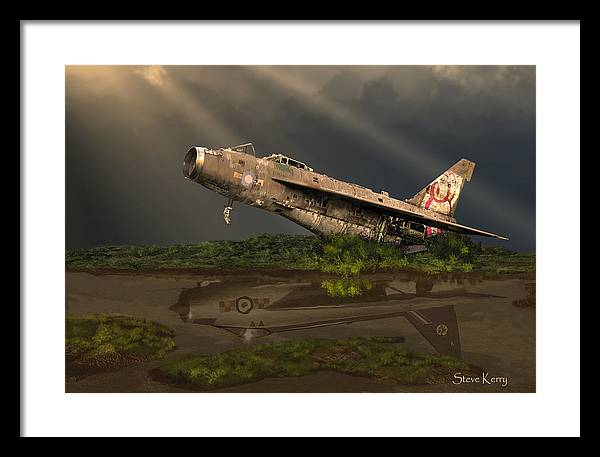 English Electric Ee Lightning Xn728 F2a Raf Cold War A1 Balderton Newark Scrapyard Rust Decay Stripped Graffiti Framed Print featuring the painting Reflected Glory by Steve Kerry