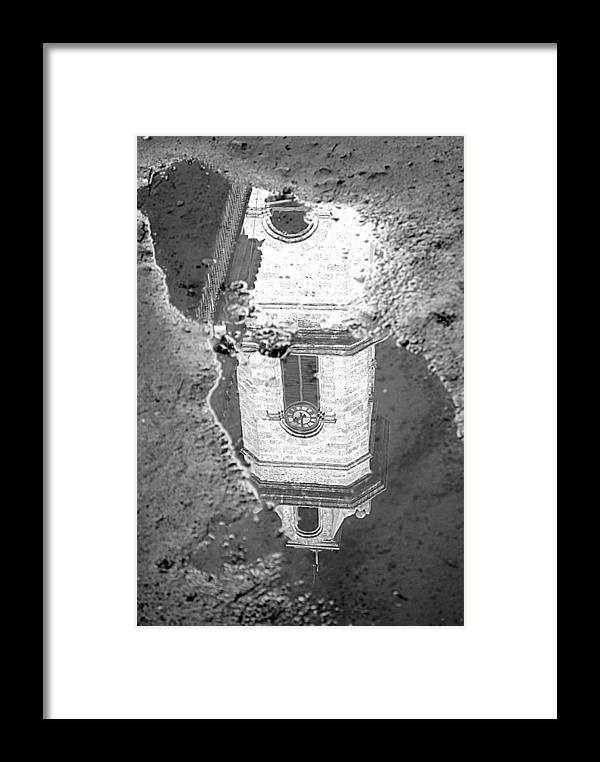 Clock Framed Print featuring the photograph Reflecting About Religion by Valentino Visentini