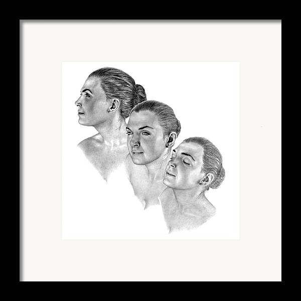 Pencil Drawing Print Framed Print featuring the drawing Reflecting by Joe Olivares