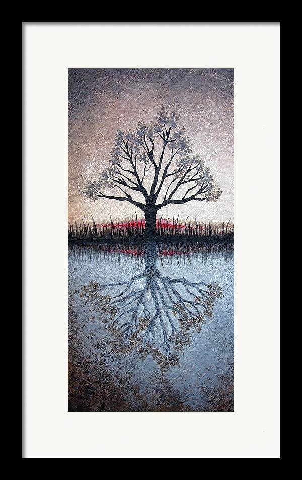 Tree Framed Print featuring the painting Reflecting Tree by Janet King
