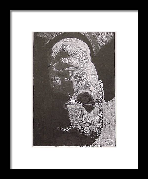 Portraiture Framed Print featuring the drawing Reflection by Denis Gloudeman